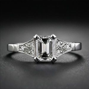 Sterling silver princess cut white sapphire ring